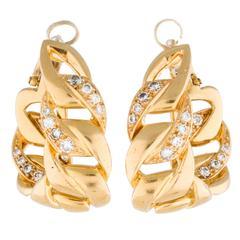 Cartier Diamond Gold Huggies Earrings