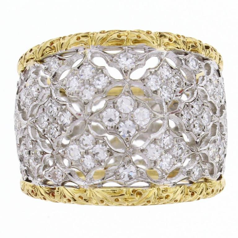 Buccellati Diamond Gold Band Ring For Sale