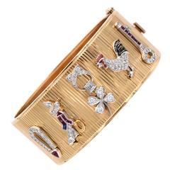 Retro Gold Cuff Bracelet with Platinum Art Deco Charms