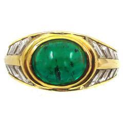 1970s Bulgari Cabochon Emerald Diamond Gold Ring