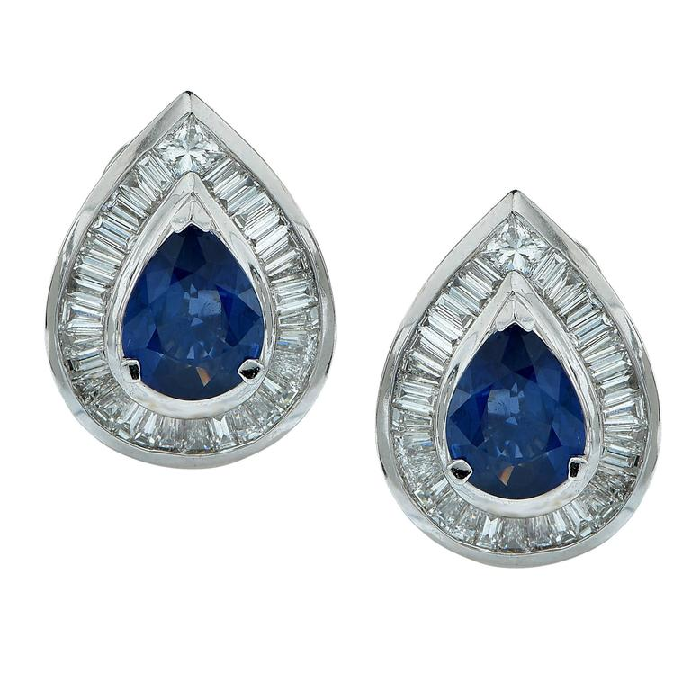 Sapphire Diamond Gold Earrings 1