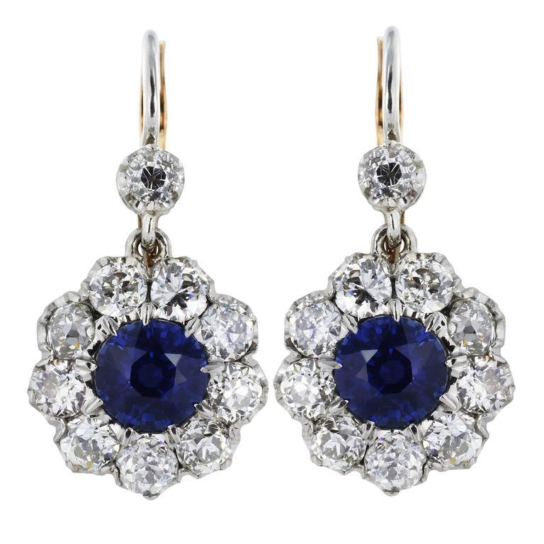 2.31 Carat Sapphires 3.10 Carat Diamonds Gold Drop Earrings