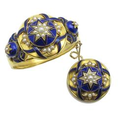 Mid 19th Century French Enamel Pearl Gold Bracelet and Brooch