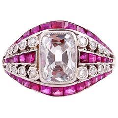 Templier Art Deco Ruby Diamond Platinum Ring