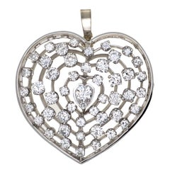 Diamond Platinum Heart Brooch Pendant