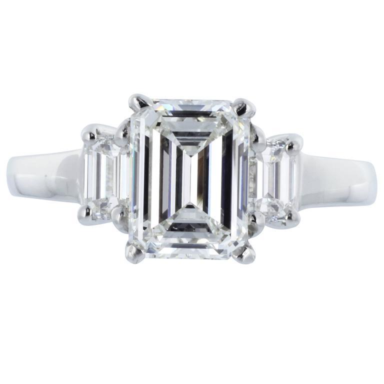 1 61 Carat H VS2 GIA Cert Emerald Cut Diamond Platinum 3 Stone Ring at 1stdibs