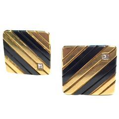 1960s Enamel Diamond Gold Cufflinks