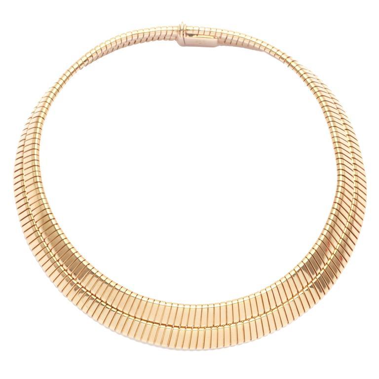 1970s Bulgari Gold Tubogas Necklace  For Sale