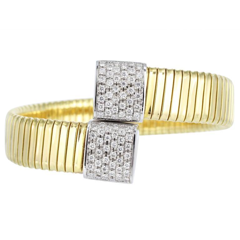Diamond Gold Flexible Bypass Cuff Bracelet