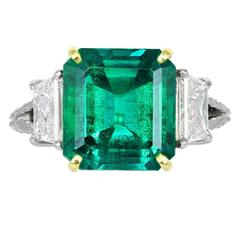 5.00 Carat Colombian Emerald Diamond Gold Platinum 3 Stone Ring