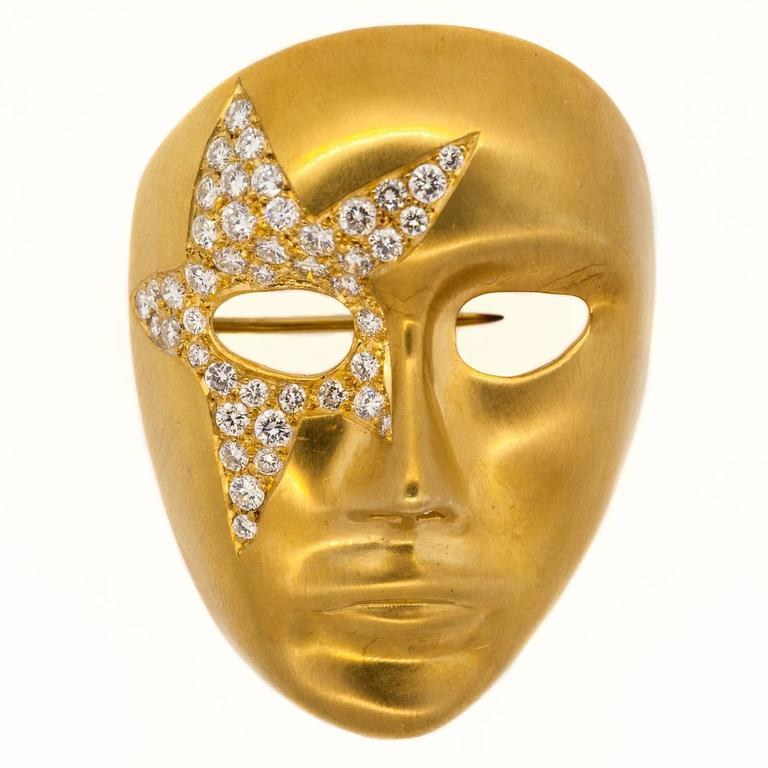 Diamond Gold Mask Brooch At 1stdibs