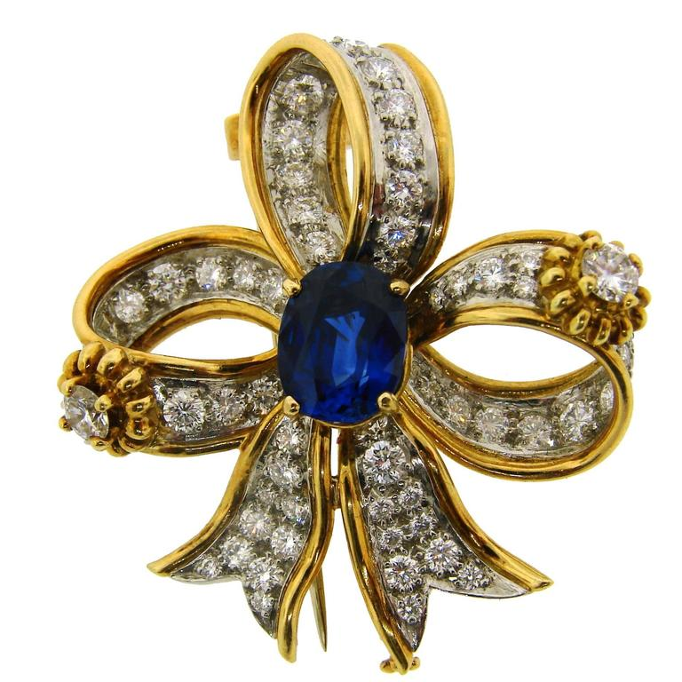 1950s Tiffany & Co. Schlumberger Sapphire Diamond Gold Bow Clip Pin Brooch