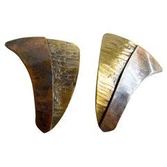 Art Smith Copper Brass American Modernist Earrings