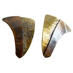 Art Smith Copper Brass Modernist Earrings