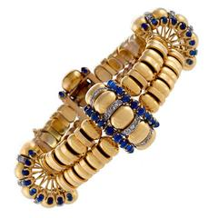 Boucheron Paris 1930's Retro Blue Sapphire Diamond Gold Bracelet