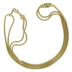 French 19th Century Gold  and Turquoise Matinee Neckace