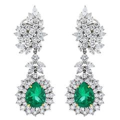 Pear Shaped Emerald Marquise and Round Cut Diamond Platinum Drop Earrings