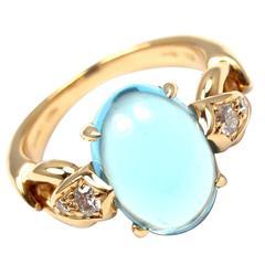 Bulgari Blue Topaz Diamond Gold Ring