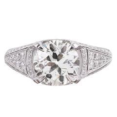 2.58 Carat Old European Brilliant Diamond Platinum Ring