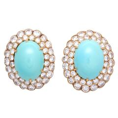 Important Van Cleef & Arpels Turquoise Diamond Gold Earrings