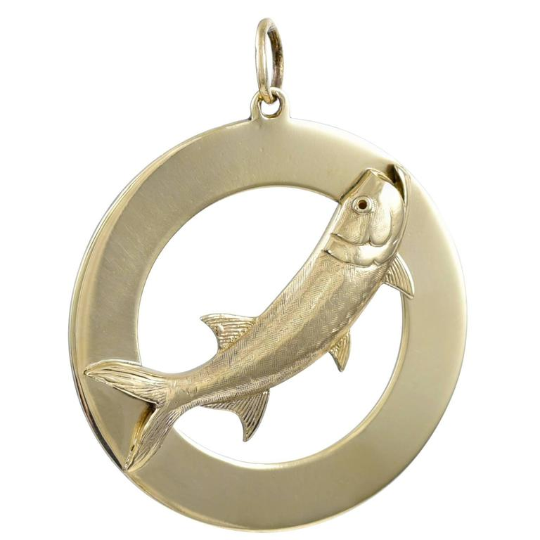 Large gold fish charm for sale at 1stdibs for Gold fish charm