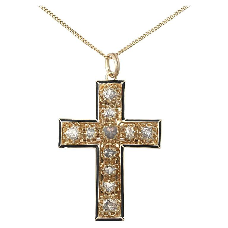 1.42Ct Diamond & Black Enamel, 14k Yellow Gold Cross Pendant - Antique Victorian For Sale