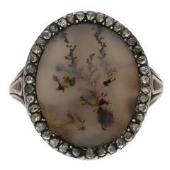 1780 Georgian Moss Agate Diamond Silver Gold Ring