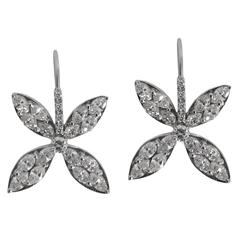 Marquis Cut Diamond Petal Drop Earrings
