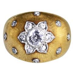 1940s Buccellati Diamond Two Color Gold Ring