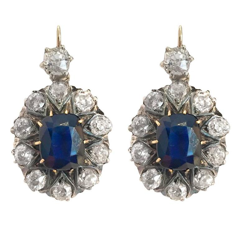 Victorian 7.8 Carat Sapphire Diamond Silver Gold Drop Earrings 1