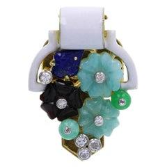 Cartier Tutti Frutti Jade Emerald Onyx Lapis Lazuli Diamond Brooch