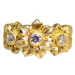 Buccellati Diamond Gold Flower Ring