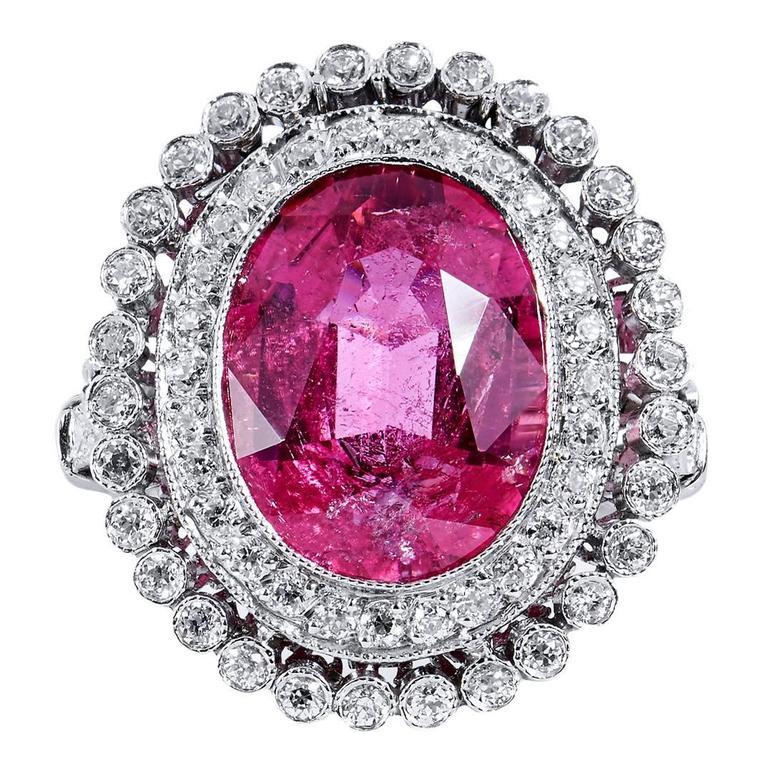 Pink Tourmaline Diamond Platinum Ring 1