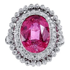 Art Deco Inspired 5.96 Carat Pink Tourmaline and Diamond Halo Platinum Ring
