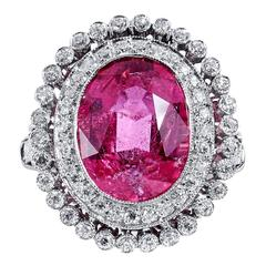 5.96 Carat Pink Tourmaline Diamond Platinum Ring