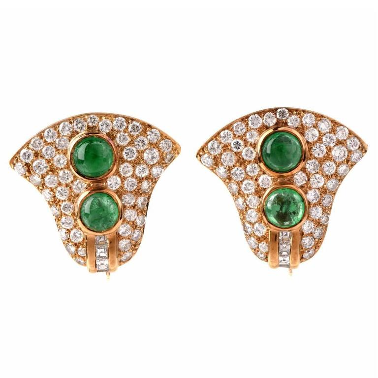 Cabochon Emerald Diamond Gold Clip On Earrings