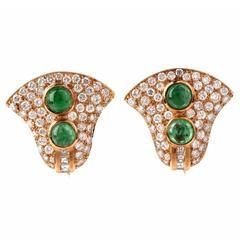 Cabochon Emerald Diamond Gold Clip-On Earrings