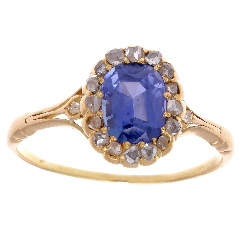 antique sapphire diamond gold engagement ring at 1stdibs. Black Bedroom Furniture Sets. Home Design Ideas