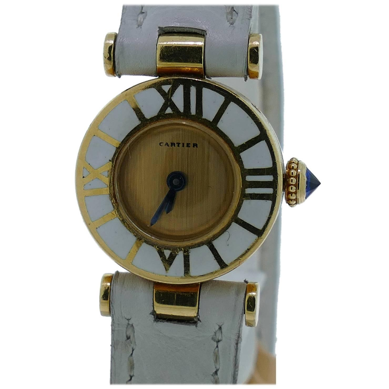 vintage cartier 18k yellow gold enamel for