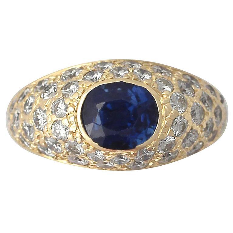 1.60 Carat Sapphire & 1.20 Carat Diamond Yellow Gold Cocktail Ring