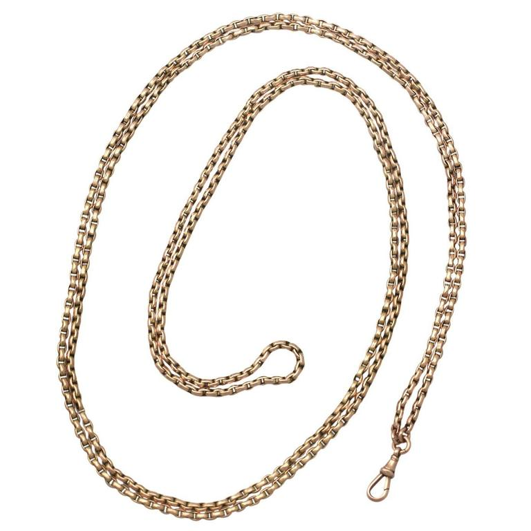 9k Yellow Gold Longuard / Watch Chain - Antique Circa 1890