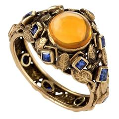 Edward Oaks Arts and Crafts Citrine, Sapphire and Gold Ring