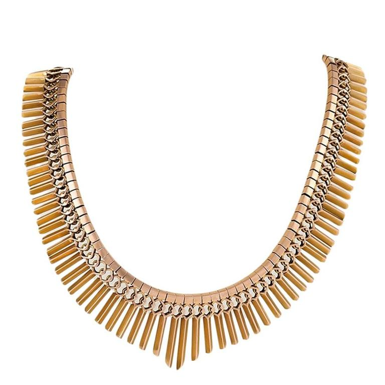1950s Gold Fringe Necklace