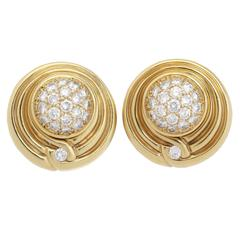 Diamond Gold Lagos Earrings with Changeable Centers