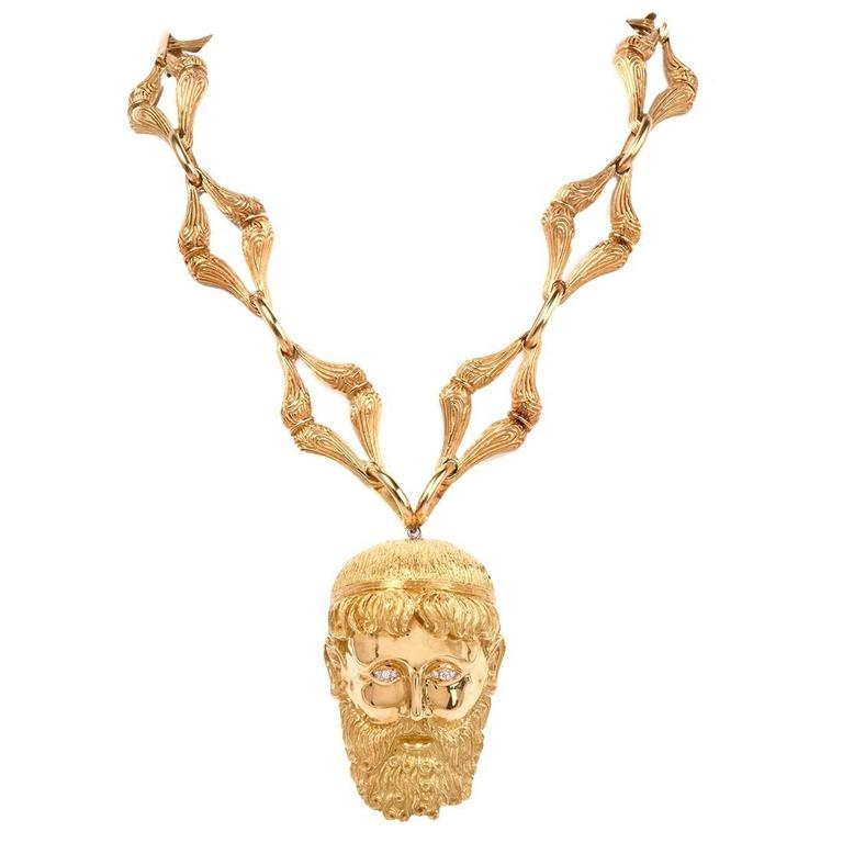 Henry Dunay Greek Gold Pendant Pin and Necklace