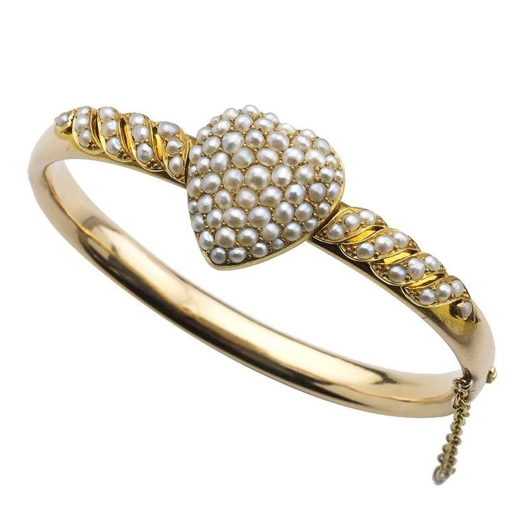 Victorian Pearl Gold Heart Bangle Bracelet