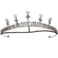 Antique Pearl Diamond Silver Gold Tiara