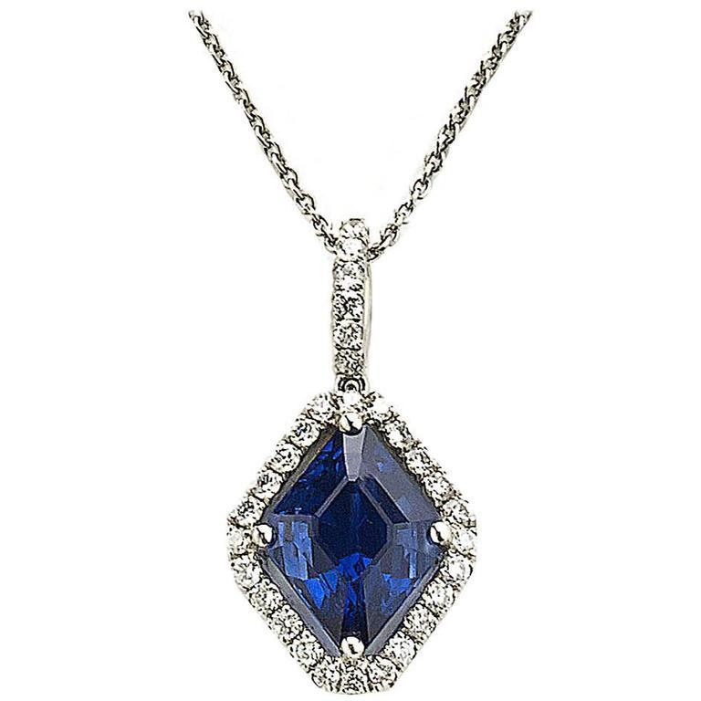 Sapphire Diamond Platinum Pendant  For Sale