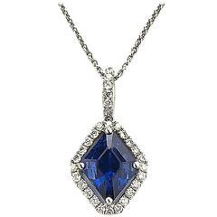 Sapphire Diamond Platinum Pendant