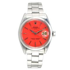 Rolex Stainless Steel Date Custom Coral Dial Wristwatch Ref 1500